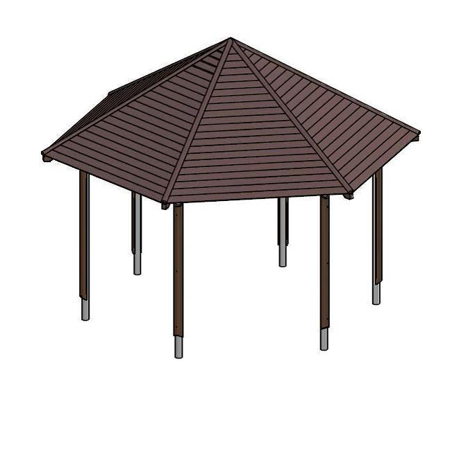 sechseck pavillon holz hv84 kyushucon. Black Bedroom Furniture Sets. Home Design Ideas